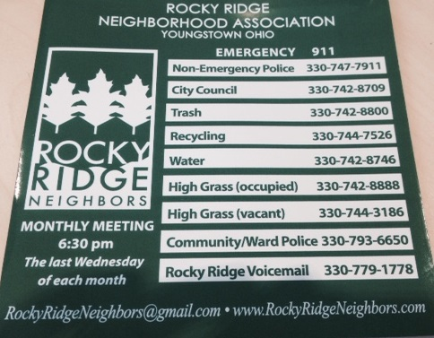 Rocky Ridge Neighbors are given this magnet for their reference.